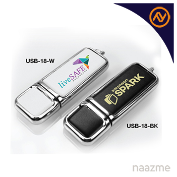 leather with chrome usb flash drives